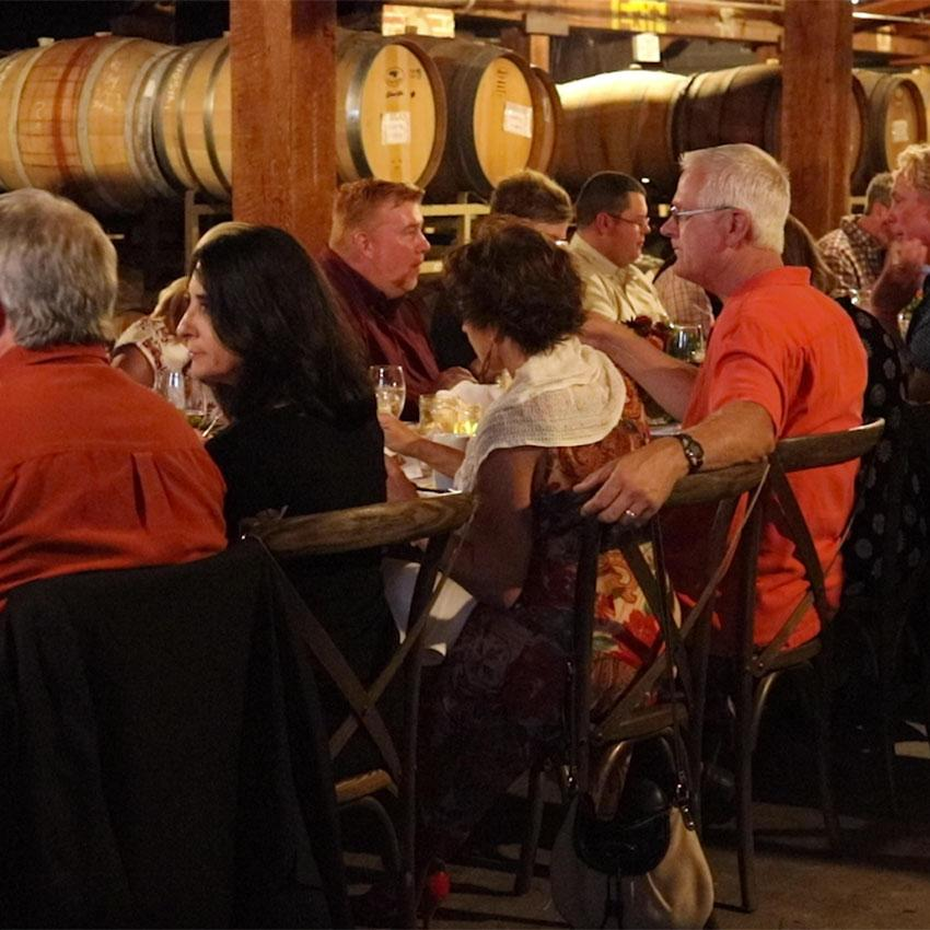 Image from Harry & David on 12 Nov 2018 with caption: Harry and David Hosted Dinner at Pallet Wine Company in Medford, OR.